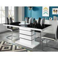 LUCIA Table à manger de 6 à 8 personnes style contemporain laqué blanc brillant + plateau en verre trempé noir - L 180 x l 90 cm
