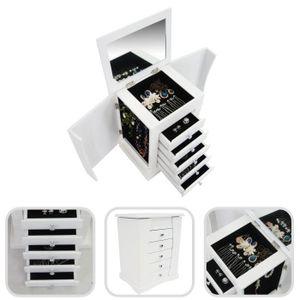 Boîte ? Bijoux avec Compartiments, Meuble ? Bijoux avec Tiroirs, 36 x 28,5 x 23 cm, Blanc, Matériau: MDF, Verre