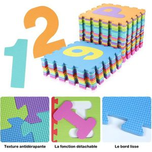 TAPIS PUZZLE 15.5 x 15.5 cm 36pcs Alphabet Chiffre Tapis Puzzle