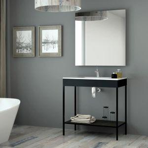 Meuble salle de bain avec vasque noir - Achat / Vente pas cher