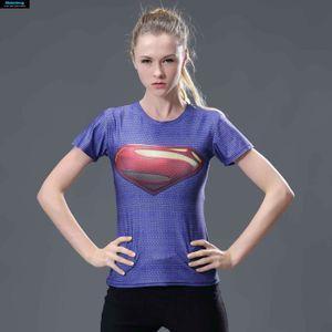 T-SHIRT Superman T-Shirt femmes fitness Compression 3D Pou