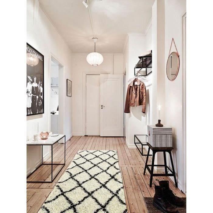 Style : Scandinave - Composition : 100% Polypropylène - Dimensions : 67x180 cm - Couleur : Blanc crèmeTAPIS DE COULOIR - TAPIS DE PASSAGE
