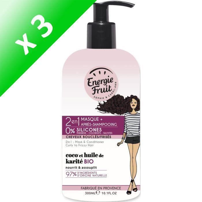 ENERGIE FRUIT Masque et après-shampoing pour cheveux bouclés ou frisés - Coco et Huile de Karité - 300 ml (Lot de 3)