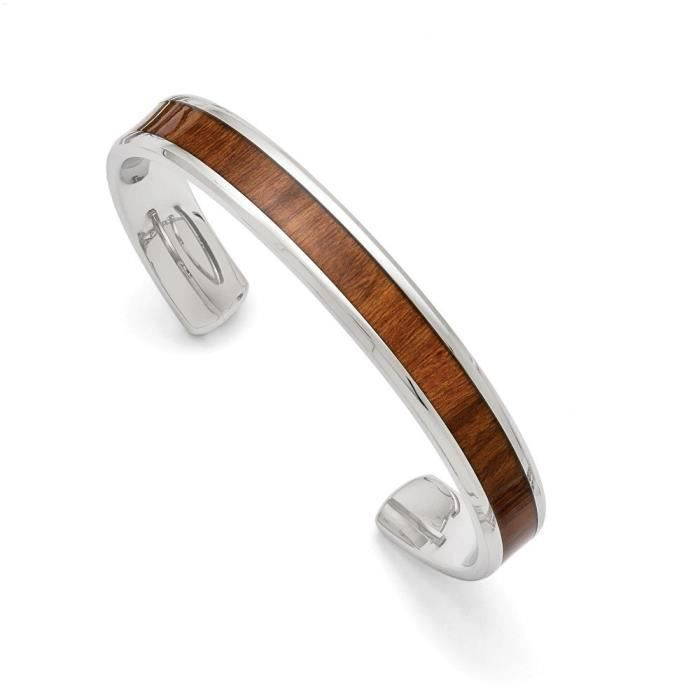 Womens Stainless Steel Polished Brown Wood Inlay Enameled Bangle Bracelet 7.5 Inches Length NZTGV