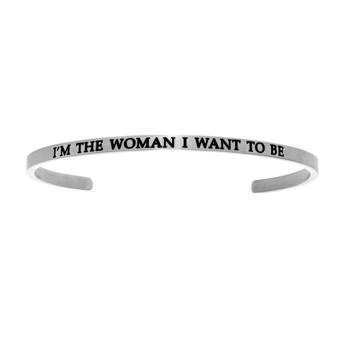 Intuitions Stainless Steel Je suis la femme que je veux être Diamond Accent Bracelet manchette Bracelet