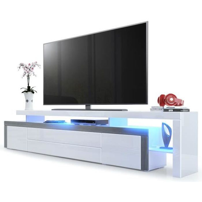 Meuble tv moderne for Meuble tv blanc bas