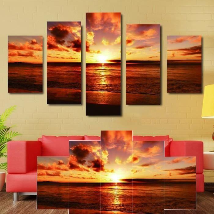 toile pour tableau multi panneaux mural 180cm 90cm coucher du soleil sans cadre achat vente. Black Bedroom Furniture Sets. Home Design Ideas