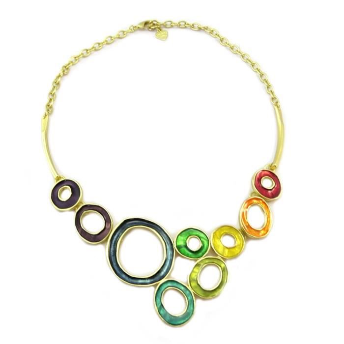 Collier Créateur Nora multicolore doré [P2518]