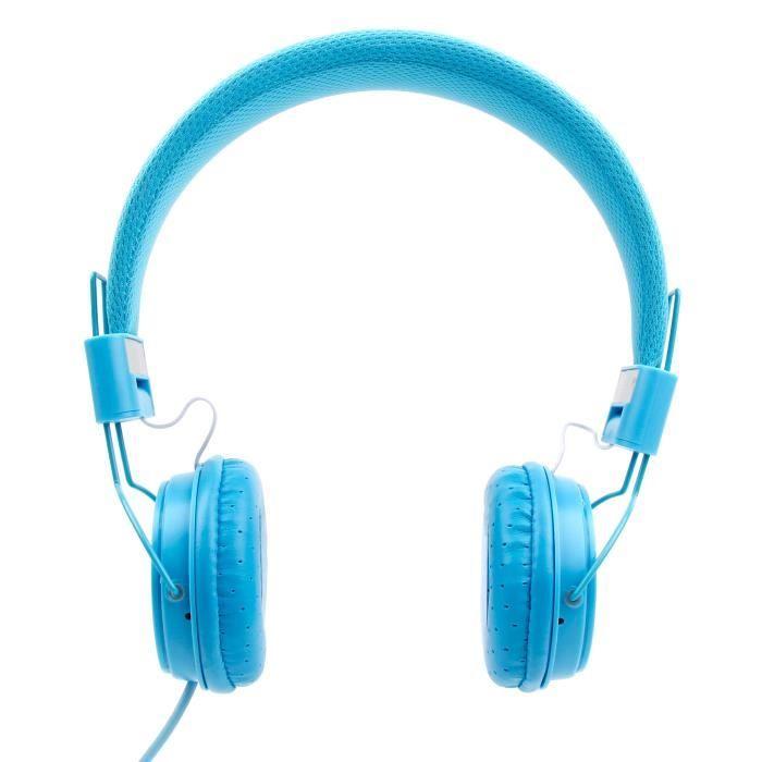 Casque Bleu Enfant Pour Thomson Teo École Primaire 7'' Et Collège 10'' Tablettes Éducatives Microphone Intégré – Duragadget