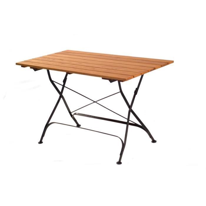 HABRITA - Table pliable rectangulaire FLORA en acacia ...