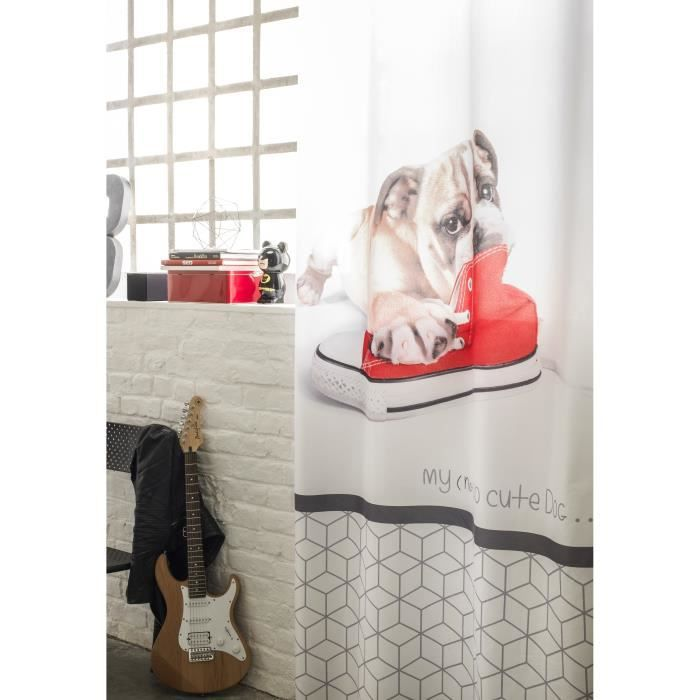double rideaux rouge et gris achat vente double. Black Bedroom Furniture Sets. Home Design Ideas