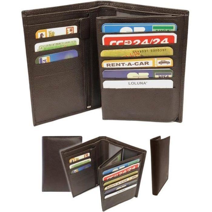 check-out 20e8c d56e0 LOLUNA® Grand portefeuille homme cuir véritable 4 volets pour carte grise,  permis, identité, cartes, billet et monnaie - Brun