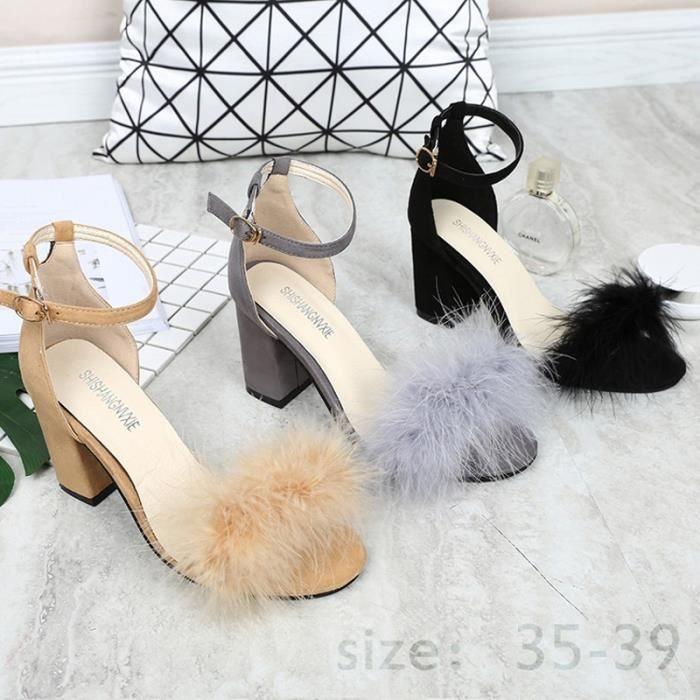Plumes de mode été femme à talons hauts sandales en peluche creux Chaussures sexy