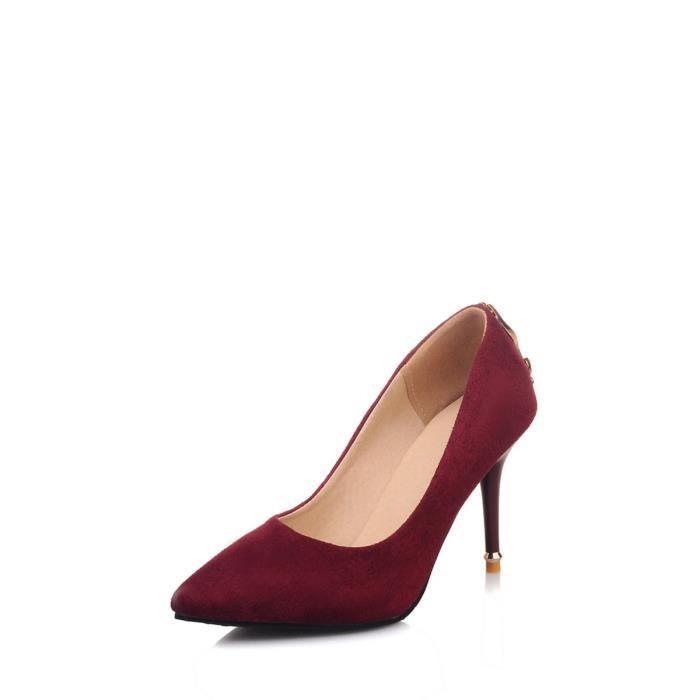 Escarpin Femmes Pompes couleur solide bout pointu Low Cut haut talon mince chaussures élégantes 6661202 FnFf7