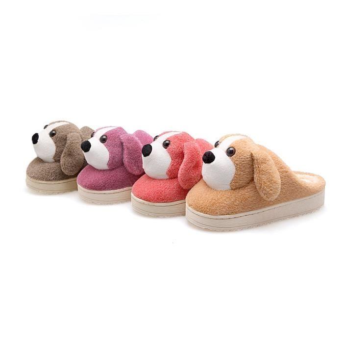 pantoufles coton dessin animé hiver femmes chaussures maison chien animal pantoufles cheveux chambre intérieure mignonnes