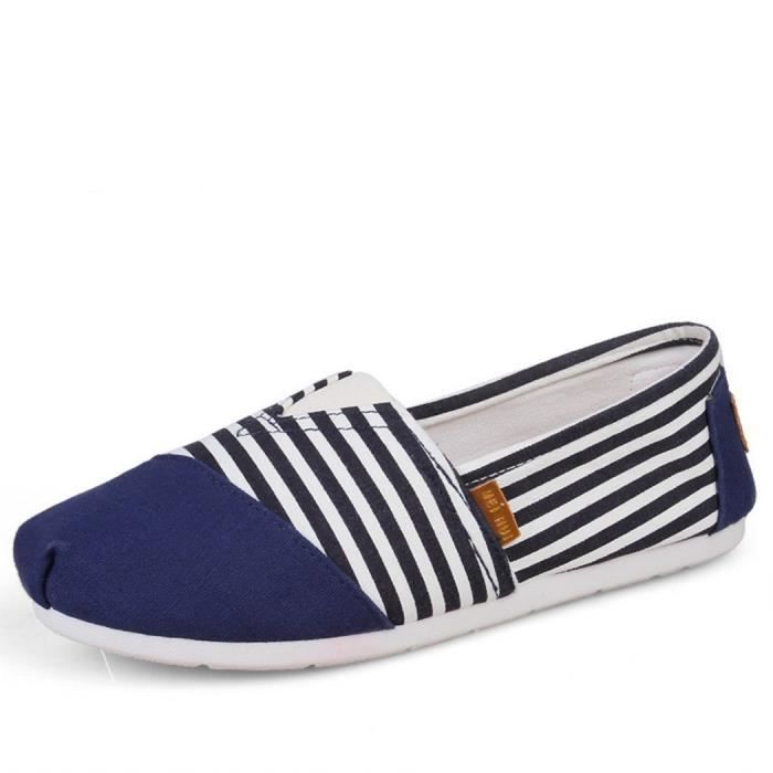 Comfort Flat Shoes For And Women, Classic Casual Canvas Slip On Flats MOV0O Taille-37