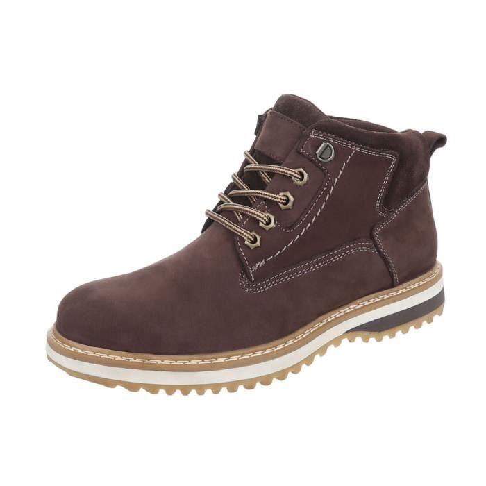 Hommes Foncé Cuir Marron Boots Bottes Lacets Chaussures Véritable À Bottillon 40 sQdthrC
