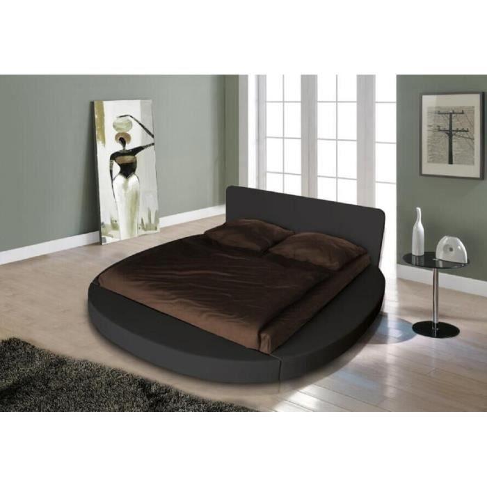 eos lit rond adulte contemporain simili noir l 180 x l 200 cm achat vente structure de lit. Black Bedroom Furniture Sets. Home Design Ideas