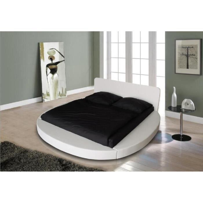 eos lit rond adulte contemporain simili blanc l 180 x l 200 cm achat vente structure de. Black Bedroom Furniture Sets. Home Design Ideas