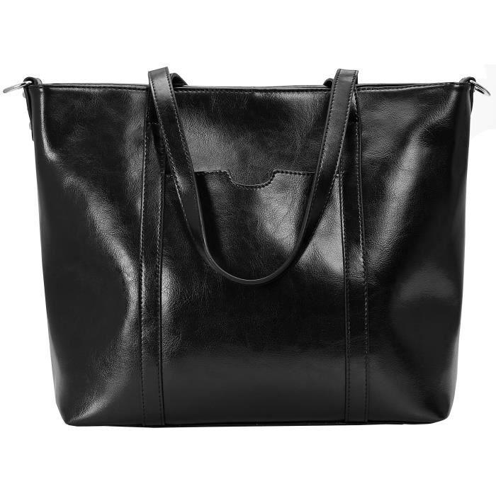 Épaule en cuir vintage Sac fourre-tout travail Top Handle Satchel Sac à main pour les femmes LS7KS