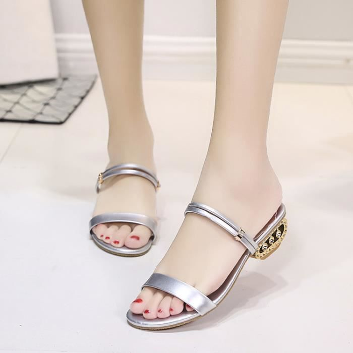2017 Femmes Summer Sandales mi-talon Peep Toe Rhinestone Slipper Casual Sandales Chunky Chaussures couleur argent taille 36 CYBbv2Iy