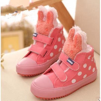 Les chaussures pour enfants nouvelles chaussures de filles bottes imperméables bébé chaussures chaudes, rose 30