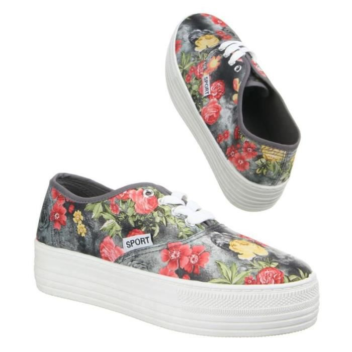 baskets compensées fleurs nouvelle collection 36