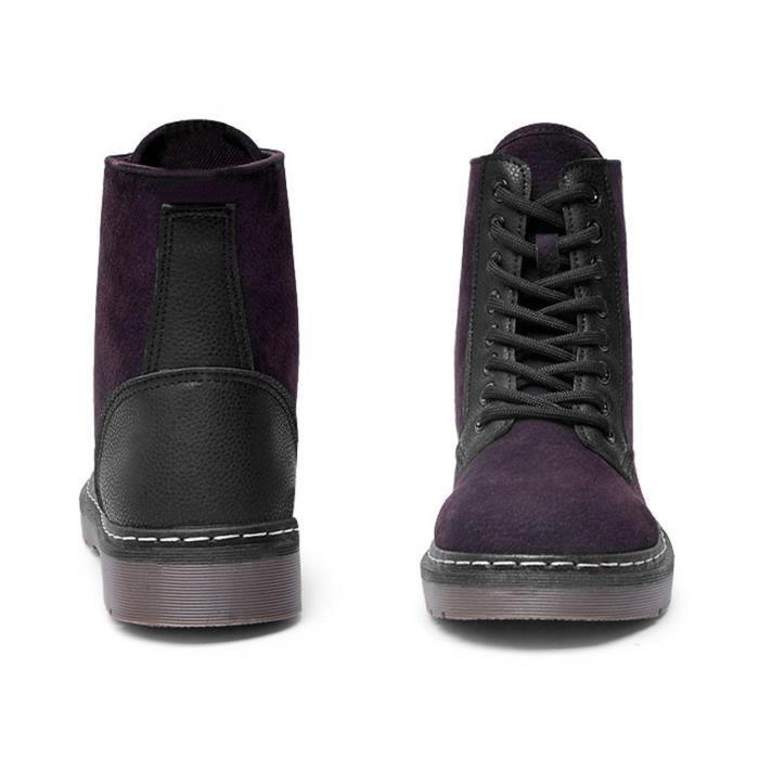 GEMVIE Bottine Femme Fille Mode Casual Boots Lacé Velours Fourée Chaud d'Hiver Mode
