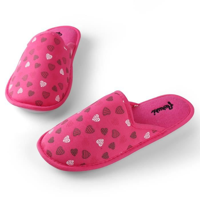 Lady's Slip-on Soft Warm Cotton Indoor Slippers Scuff Home Bedroom Spa Footwear T7G48 Taille-40