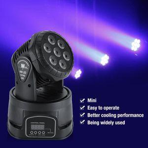 LAMPE ET SPOT DE SCÈNE Lyres de Scène 7 LED RGBW Tête Mobile Lampe de Dis