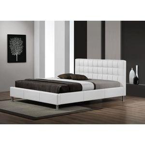 lit capitonne blanc 140 achat vente pas cher. Black Bedroom Furniture Sets. Home Design Ideas
