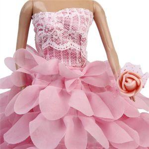ACCESSOIRE POUPÉE Robe de Mariée en Dentelle Florale avec Chapeau et