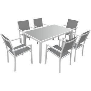 Salon de jardin BERGAMO en textilène gris 6 places - aluminium blanc ...