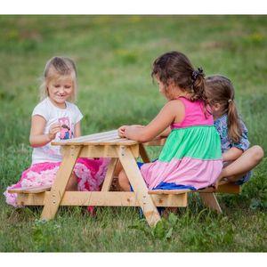 TABLE DE PIQUE-NIQUE TIMBELA Table Pique-Nique Enfant en Sapin 90x90xh5