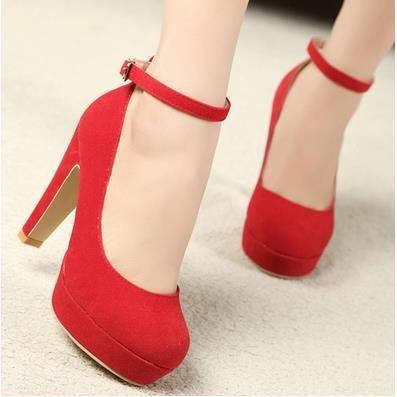 La nouvelle épaisseur avec des chaussures à talons hauts chaussures rondes Suede Shoes femmes dans la carrière, rouge 35