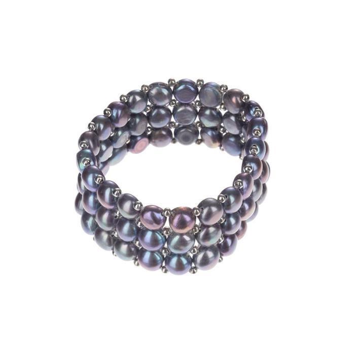 Mes-Bijoux.fr - Bracelet Femme en Perles de culture Noire et Argent 925-1000 - XXRHNB034gv