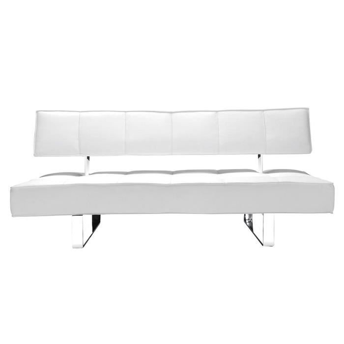 Canap convertible design blanc broadway achat vente for Canape convertible facile