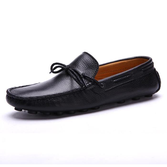 Chaussures de bateaux pour homme en cuir vérita...