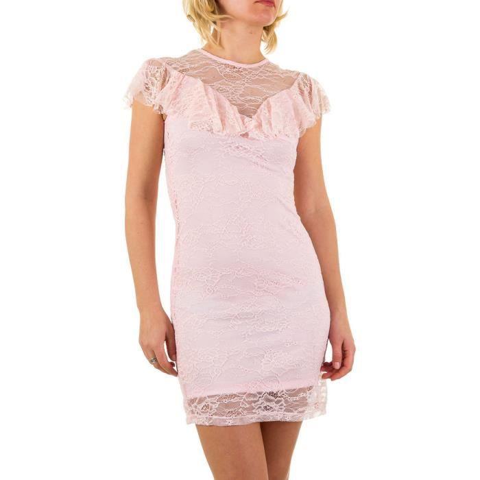 Femme robe Volant dentelle rose S