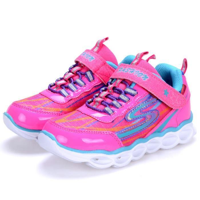 LED Chaussures Enfants Unisexe Mode Lumière USB Charge Clignotants Sneaker Léger Lumineux Occasionnelles Sports Champion Baskets