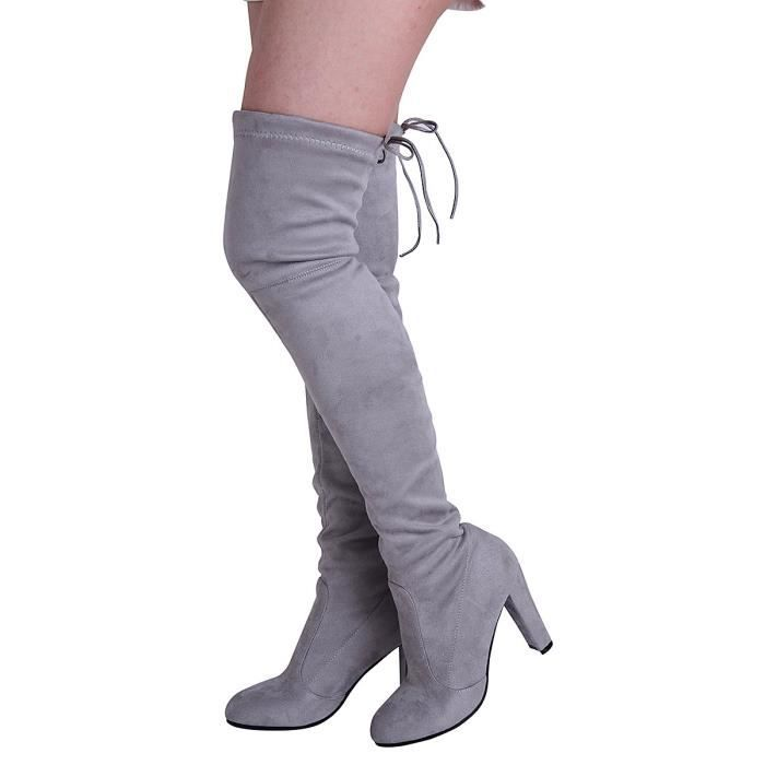 Femmes Cuissardes Cuissardes Bottes sexy Chunky talon Drawstring Bootie A7CSI Taille-37