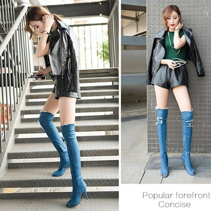 Talon Peep Hautes Knee Été Over Automne Longue toe Stiletto Jeans Cuisse Bottes Haut Boots Femme w80PBqtw