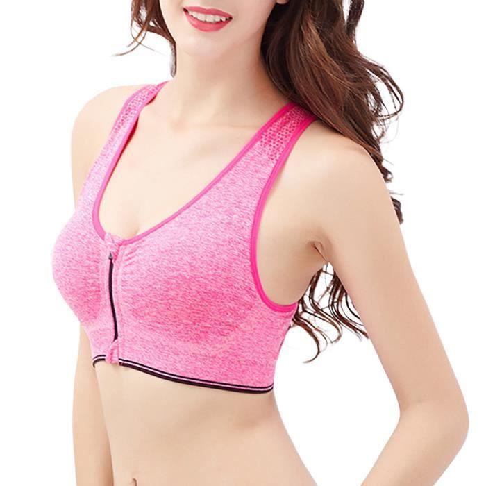 Chirurgie Sans Fil Soutien Yoga Sport La Actif Zip Rouge Femmes gorge Avant Après K3uFJTl1c