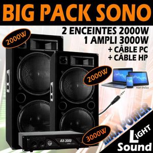 PACK SONO SONO DJ 7000W PACK TRES PUISSANT ! 2 ENCEINTES 200