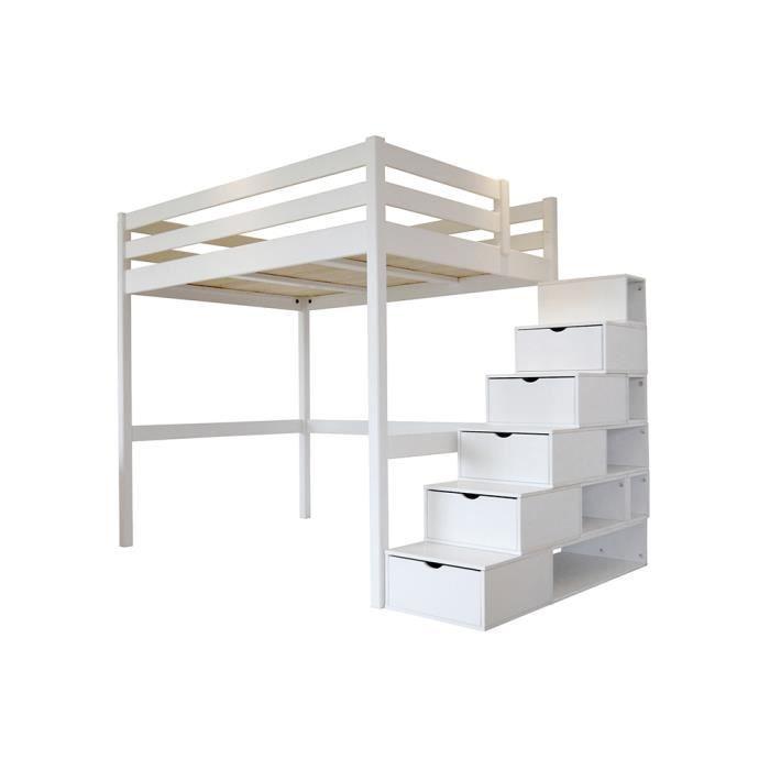 lit mezzanine sylvia avec escalier cube bois achat vente lit mezzanine lit mezzanine sylvia. Black Bedroom Furniture Sets. Home Design Ideas