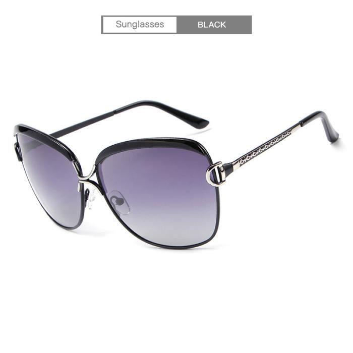 Lunettes de soleil Femme Mode lunettes polarisées UV400 E016 BLACK ... 5bbedfe30f4d