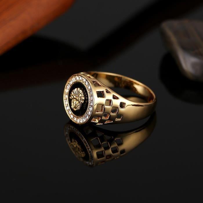 3218e1aa8491 Mode couleur Or Medusa Hommes Onyx Chevalière Bague bijoux Taille 6.5-12