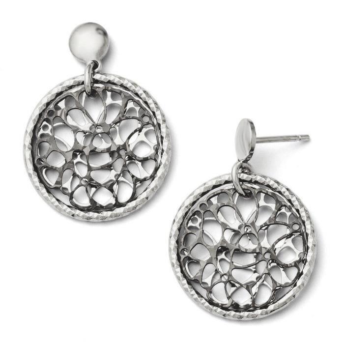 Taille diamant et ruthénium noir Post-Boucles doreilles pendantes