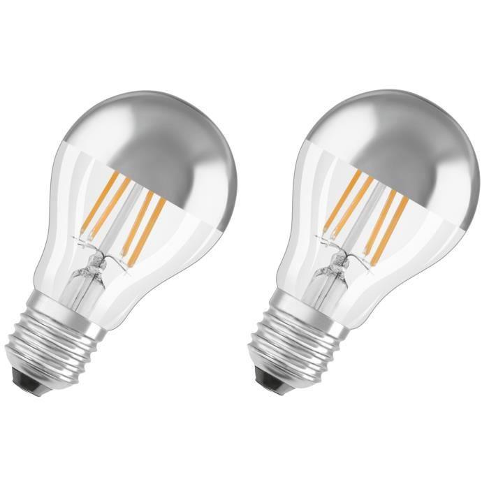 OSRAM Lot de 2 Ampoules LED E27 standard calotte argentée 7 W ...