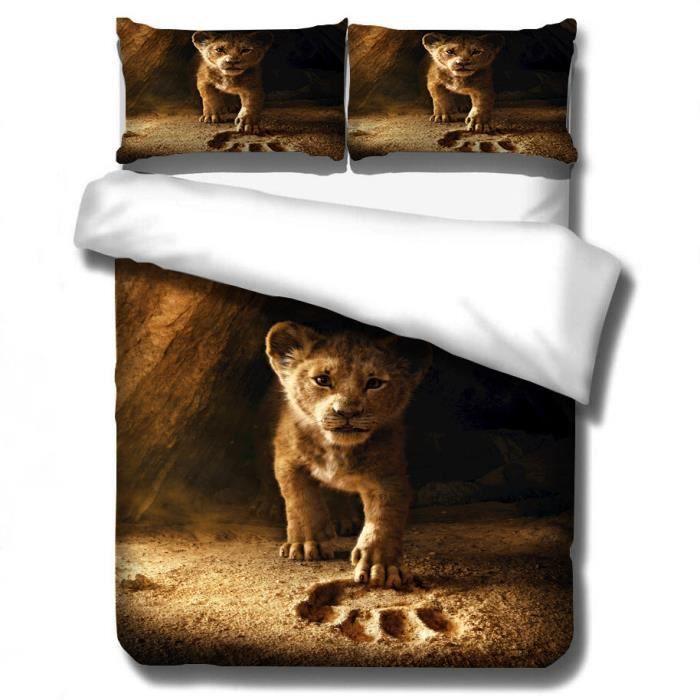 HOUSSE DE COUETTE ET TAIES Le Roi lion Simba Style Parure de Couette Housse d